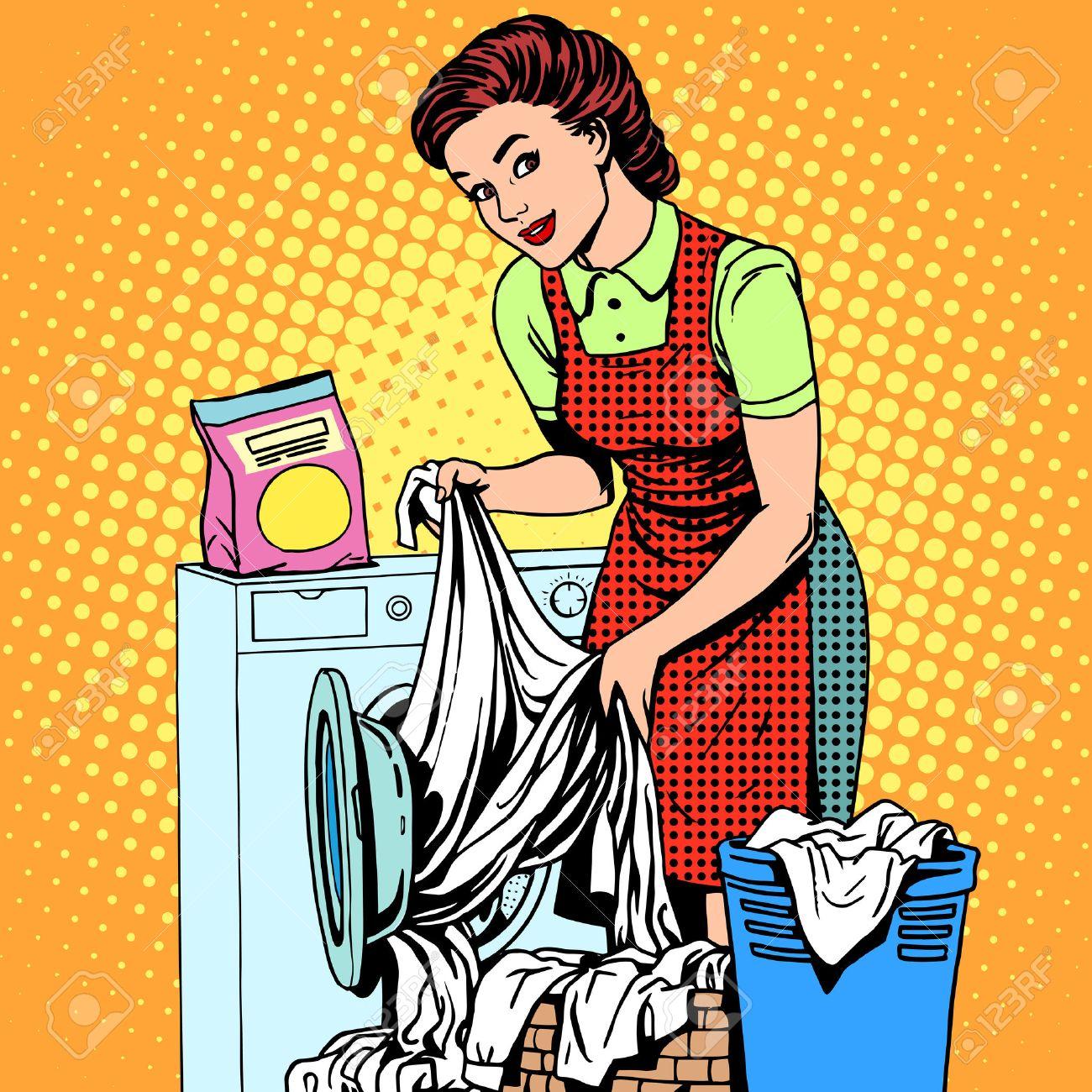 Amato Una Donna Lava I Vestiti In Un Pop Art Stile Retrò Lavatrice  MT97