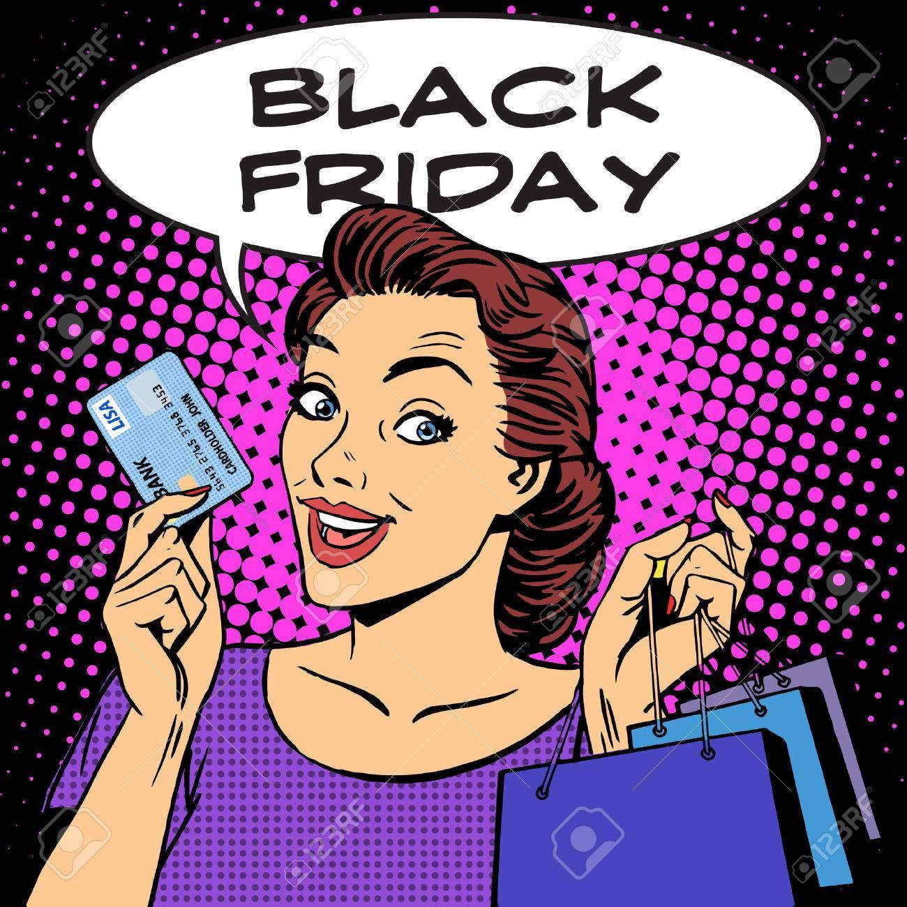 Black Friday Femme Avec Des Remises De Cartes Visite Pop Rtro