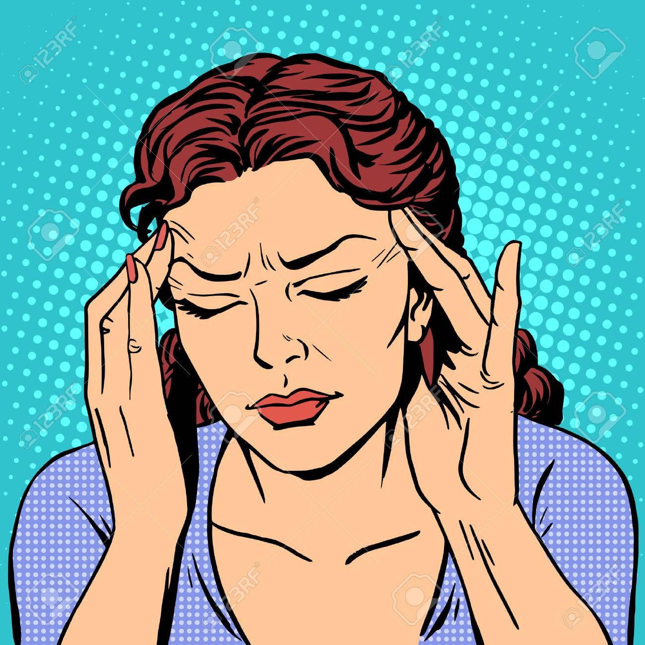 Headache health medicine woman pop art retro style - 46967739