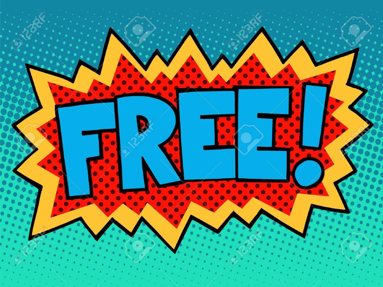 free comic book inscription pop art retro style royalty free