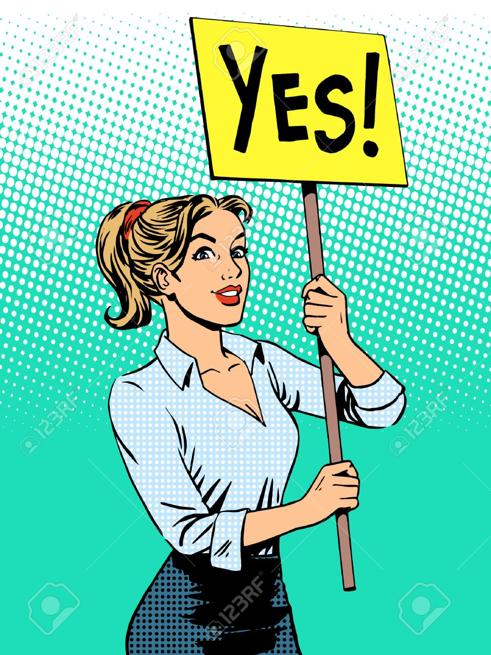 businesswoman policy protest with a poster yes pop art retro style - 46967924