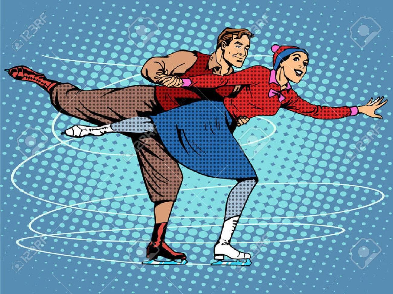 Pair figure skaters ice dance pop art retro style Stock Vector - 48154335