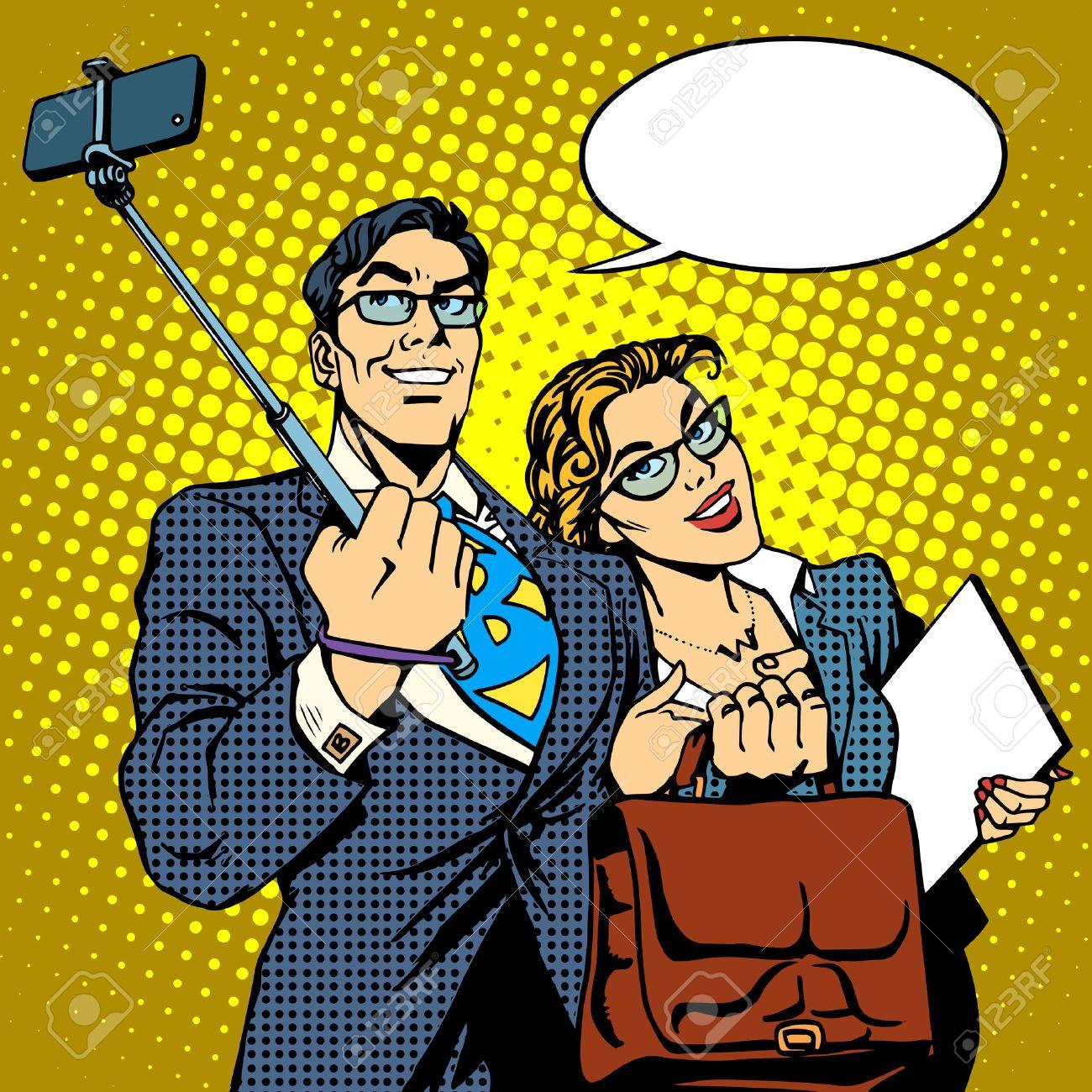 Selfie stick businessman and businesswoman photo smartphone pop art retro style. Couple man and woman friendly photo - 48085930