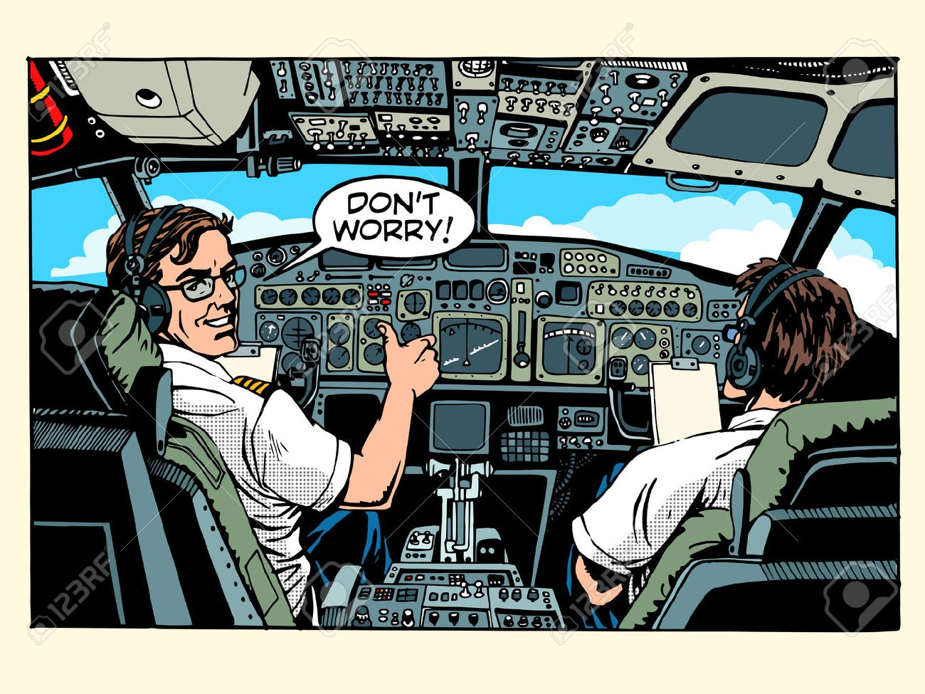 Aircraft cockpit pilots airplane captain pop art retro style. Aviation and travel - 48470558