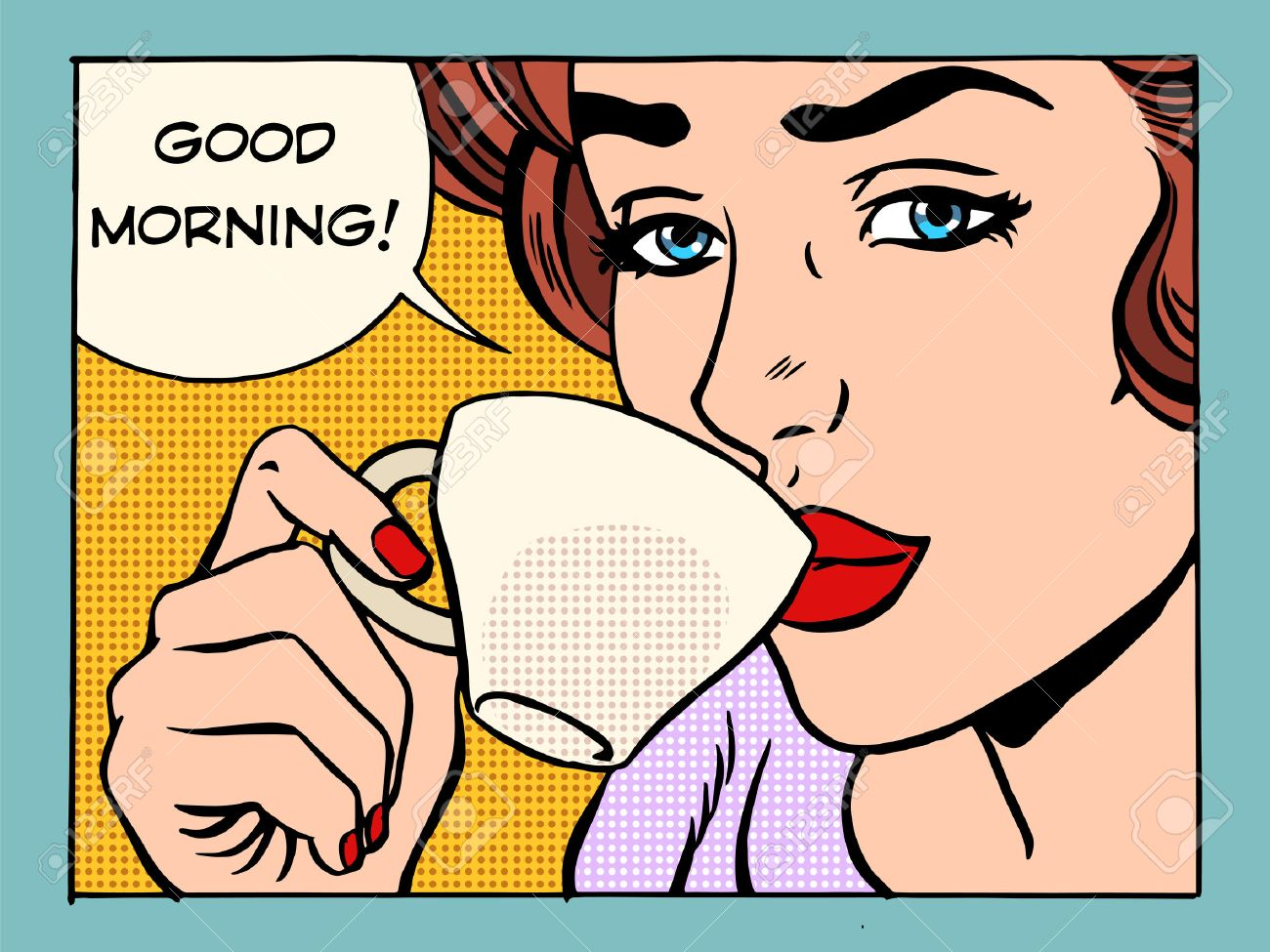 Good morning girl with Cup of coffee pop art retro style. Beautiful woman having Breakfast in the morning - 49339427