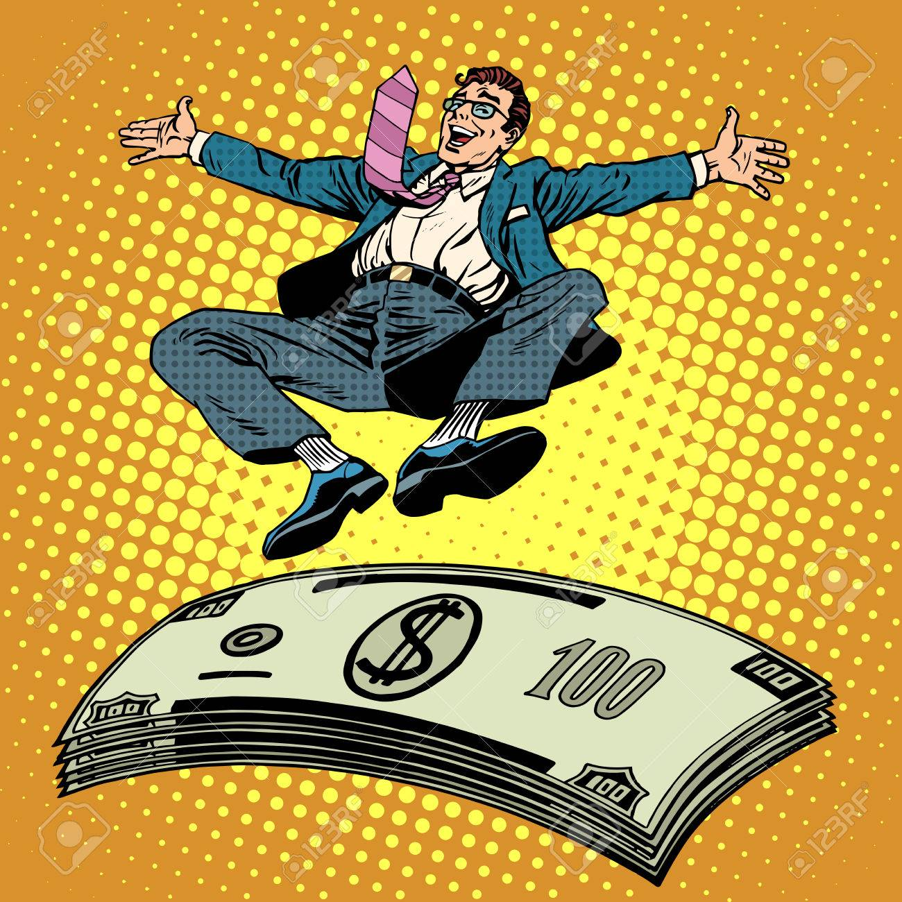 Business Success Businessman Money Trampoline Pop Art Retro Style.  Financial Wealth Income Of A Millionaire