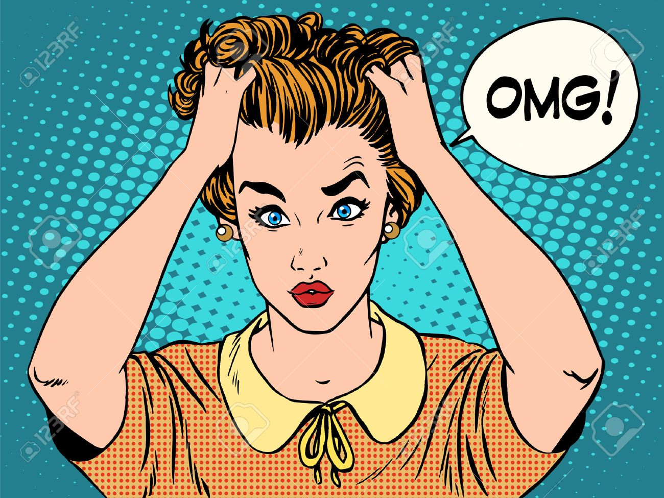 OMG the woman in shock pop art retro style. Emotions feelings of psychological stress. Beautiful girl upset that she had done. News and gossip - 49339765