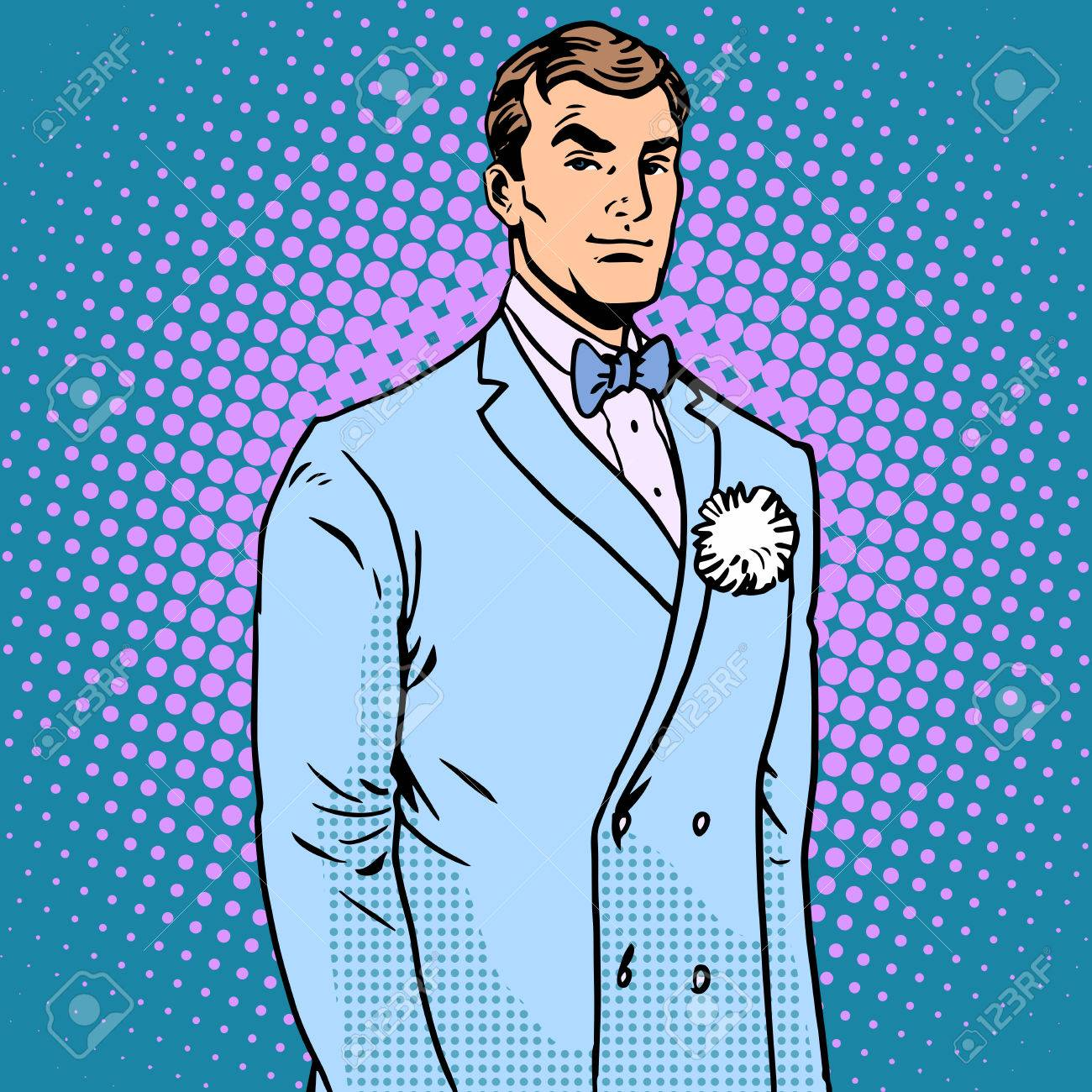 The Groom In A Wedding Suit Pop Art Retro Style. The Flower In ...