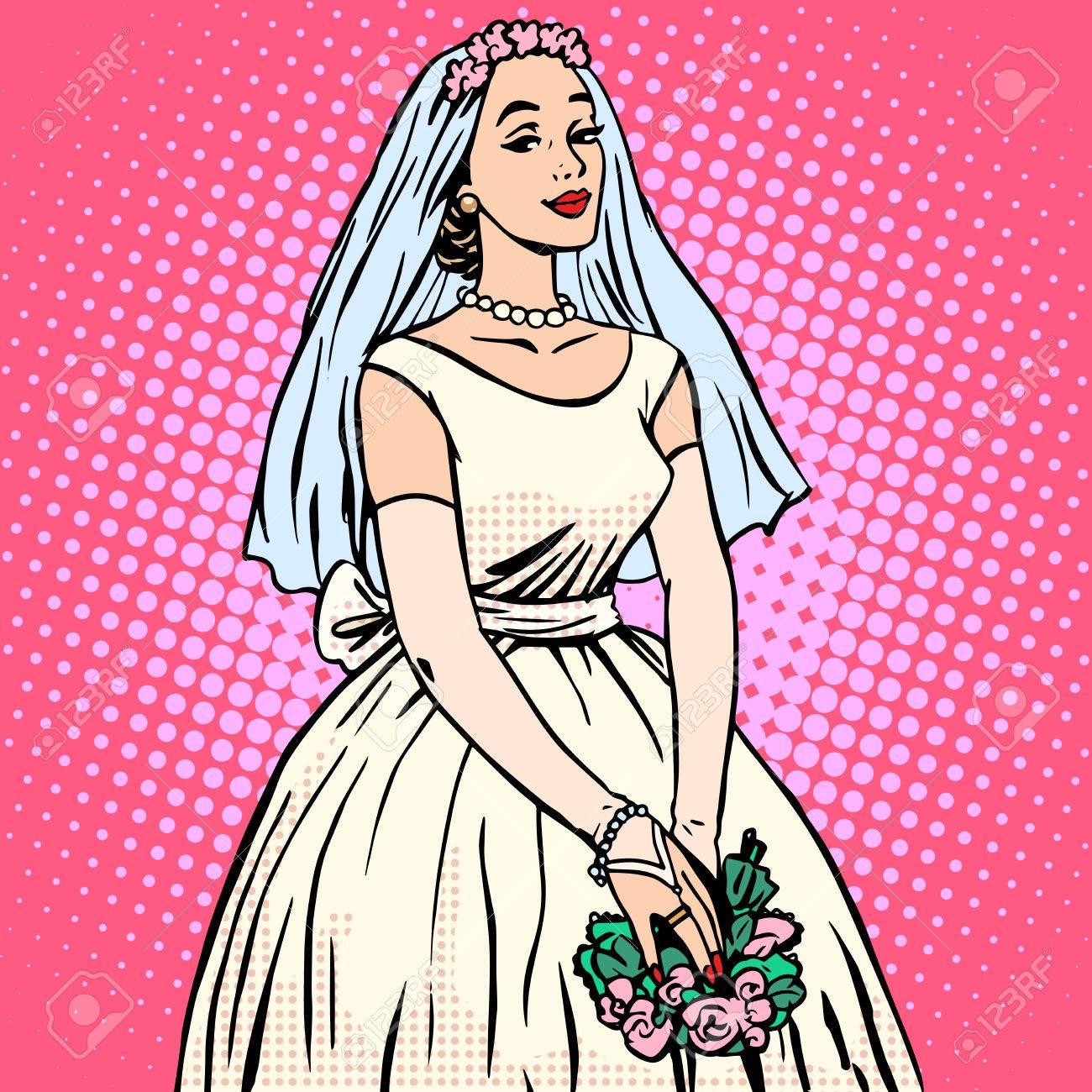 Novia En Vestido De Novia Estilo Retro Pop Art Blanco. Mujer Hermosa ...
