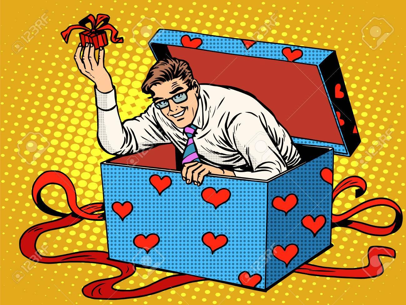 Man Valentinstag Uberraschung Box Liebe Geschenk Pop Art Retro Stil Hochzeit Und Romantik Ehemann Geschenk Lizenzfrei Nutzbare Vektorgrafiken Clip Arts Illustrationen Image 50538565