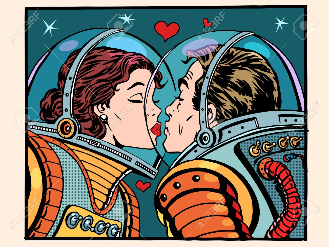 Kiss space man and woman astronauts pop art retro style. Valentines day, wedding and love. A girl and a boy. Science and the cosmos. - 50878480