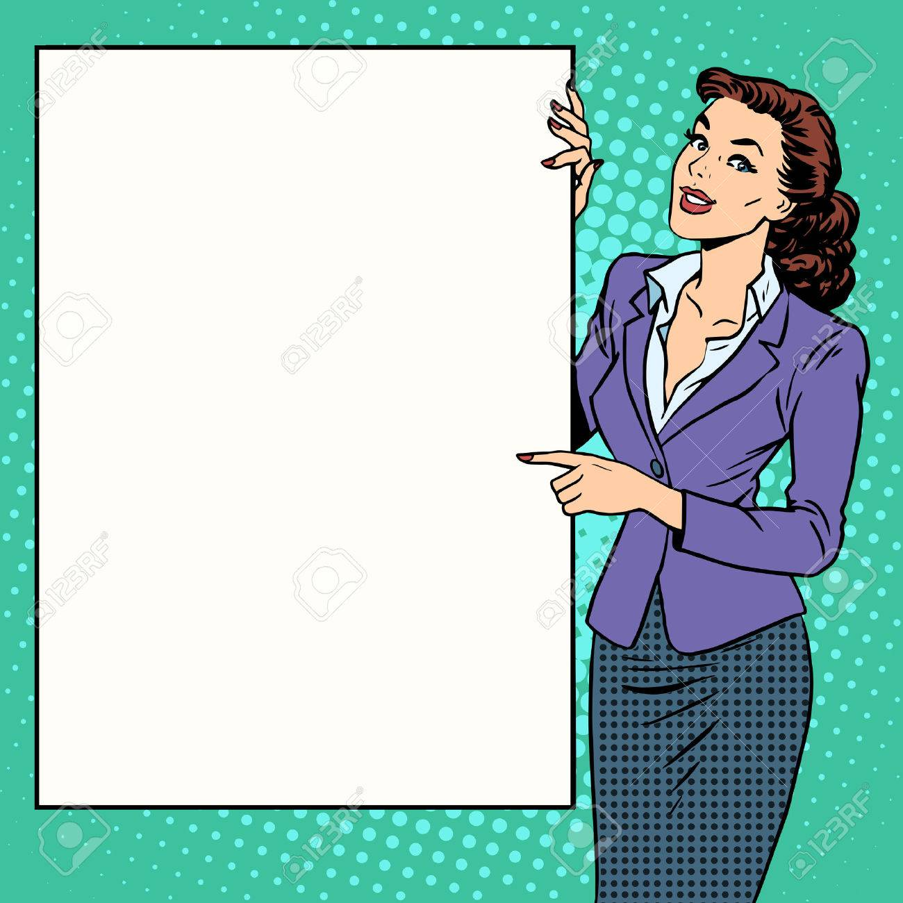 Poster businesswoman style your brand here pop art retro. Advertising and the announcement. The woman with the poster. Your text here - 50878734