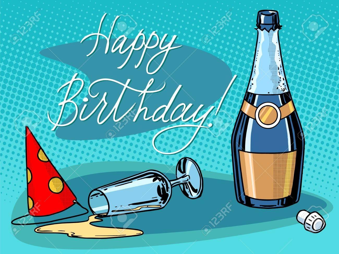 Vettoriale Buon Compleanno Champagne Festa Pop Art Stile Retro