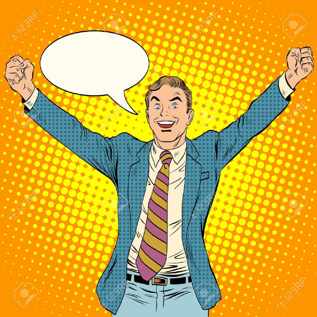 businessman winner business concept pop art retro style. White middle-aged man triumphantly he threw his arms up. Joy and success - 51900683