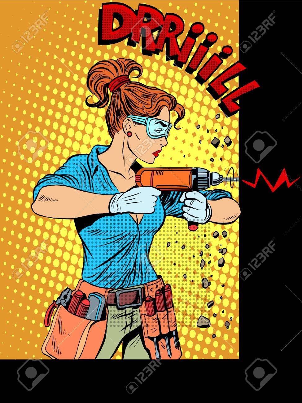Woman Drilling Wall Drill Pop Art Retro Style. Home Appliances ...