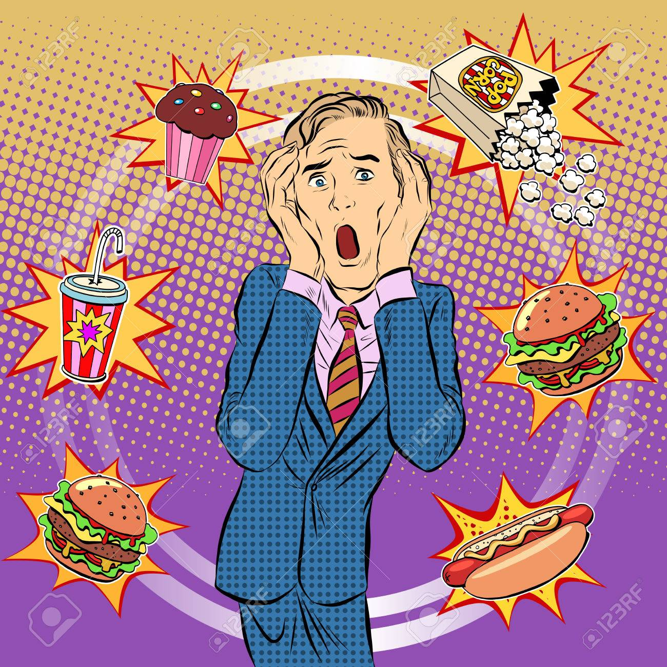 Fast food man unhealthy diet panic pop art retro style. The health of a person. Office lunch. Time and food - 51900698