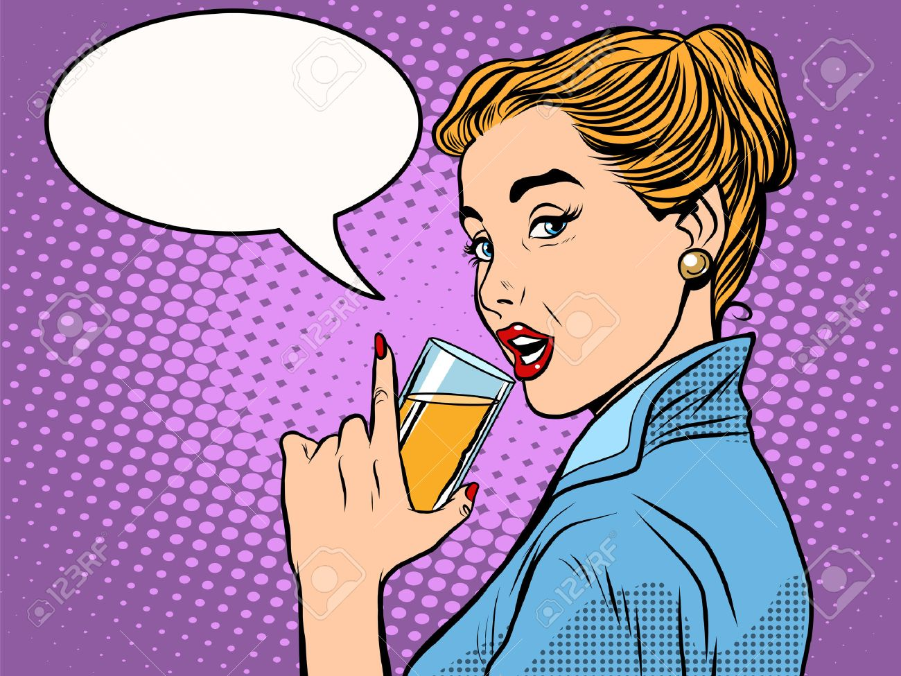 girl alcoholic drink pop art retro style. A glass of wine or champagne. Party and celebration - 51904044