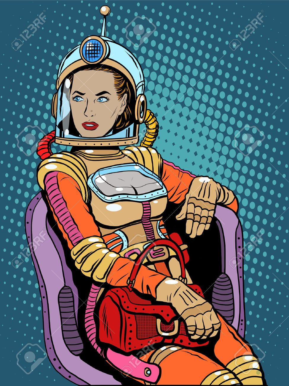 Space girl beauty science fiction pop art retro style. A woman sits in a chair. International womens day. Female power - 51904047