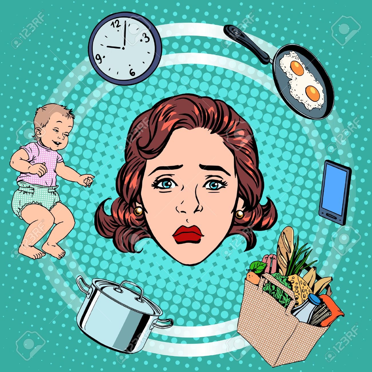 Woman housework sadness pop art retro style. International womens day. Wife and housewife - 51904055