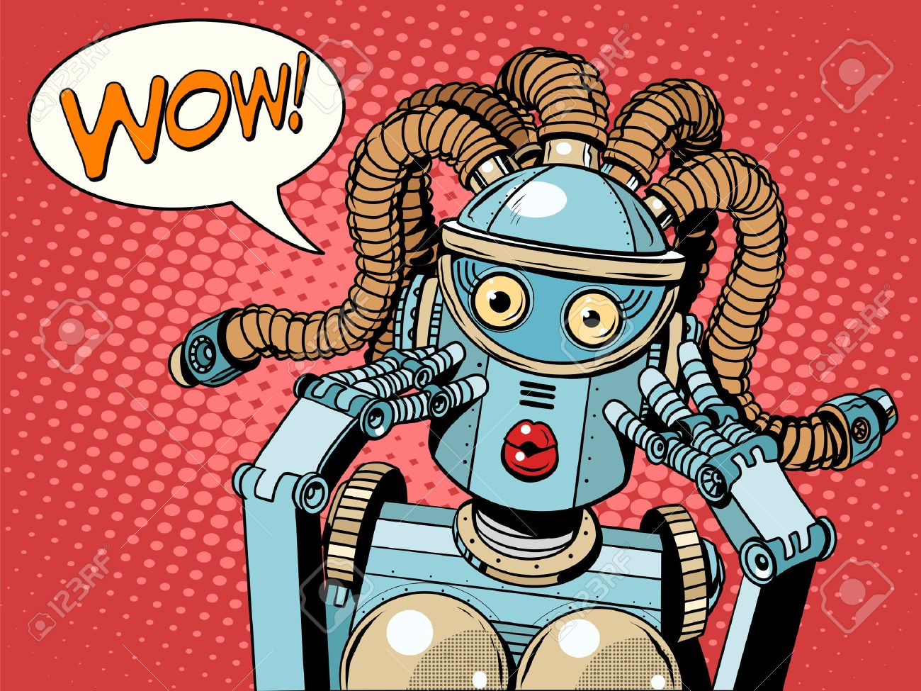 Wow beautiful woman robot pop art retro style. Unexpected news. Technology and progress. The invention and gadgets. Womens emotions. Humanoid robot - 51904061