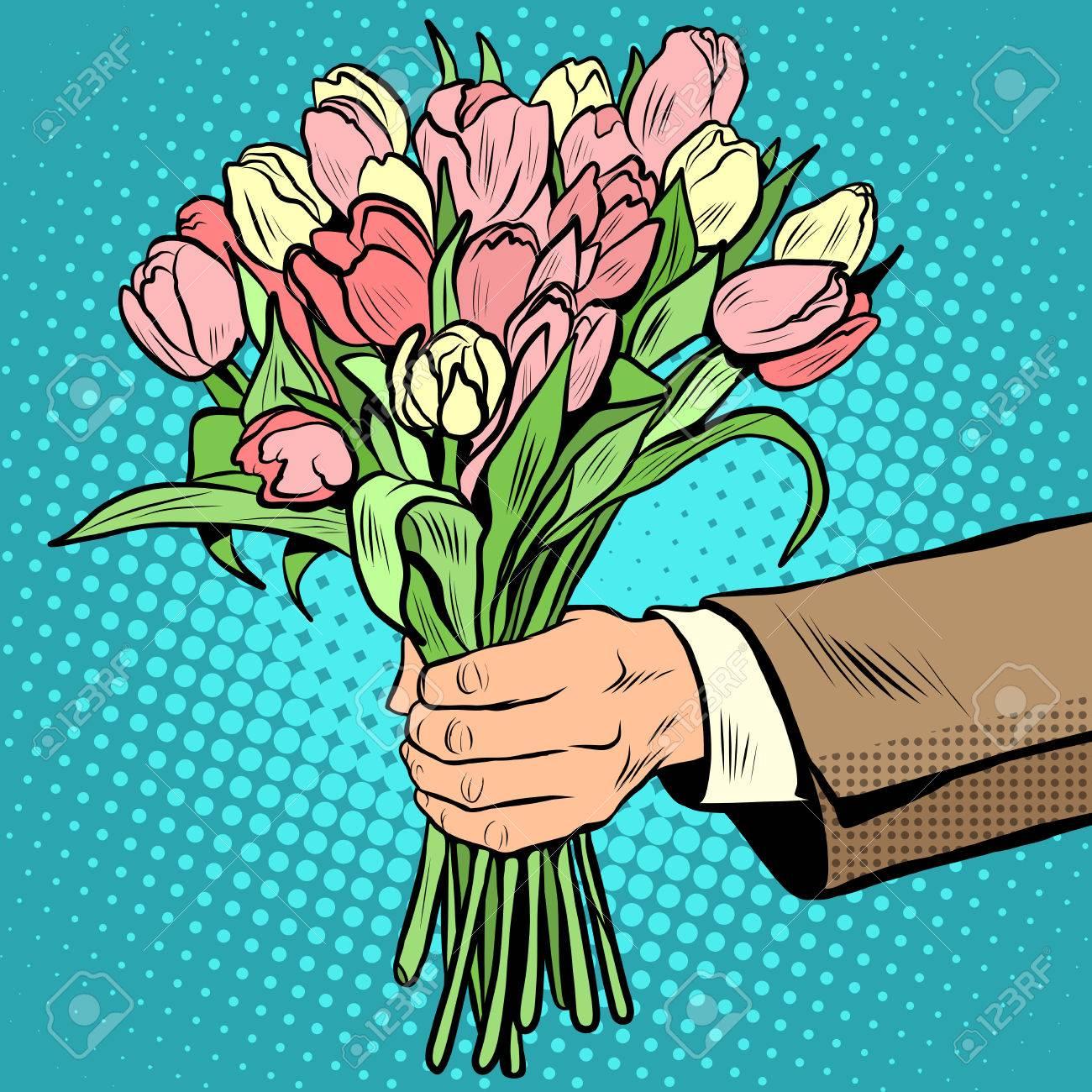 Bouquet Tulipani Fiori Regalo Pop Art Stile Retrò L Uomo Si