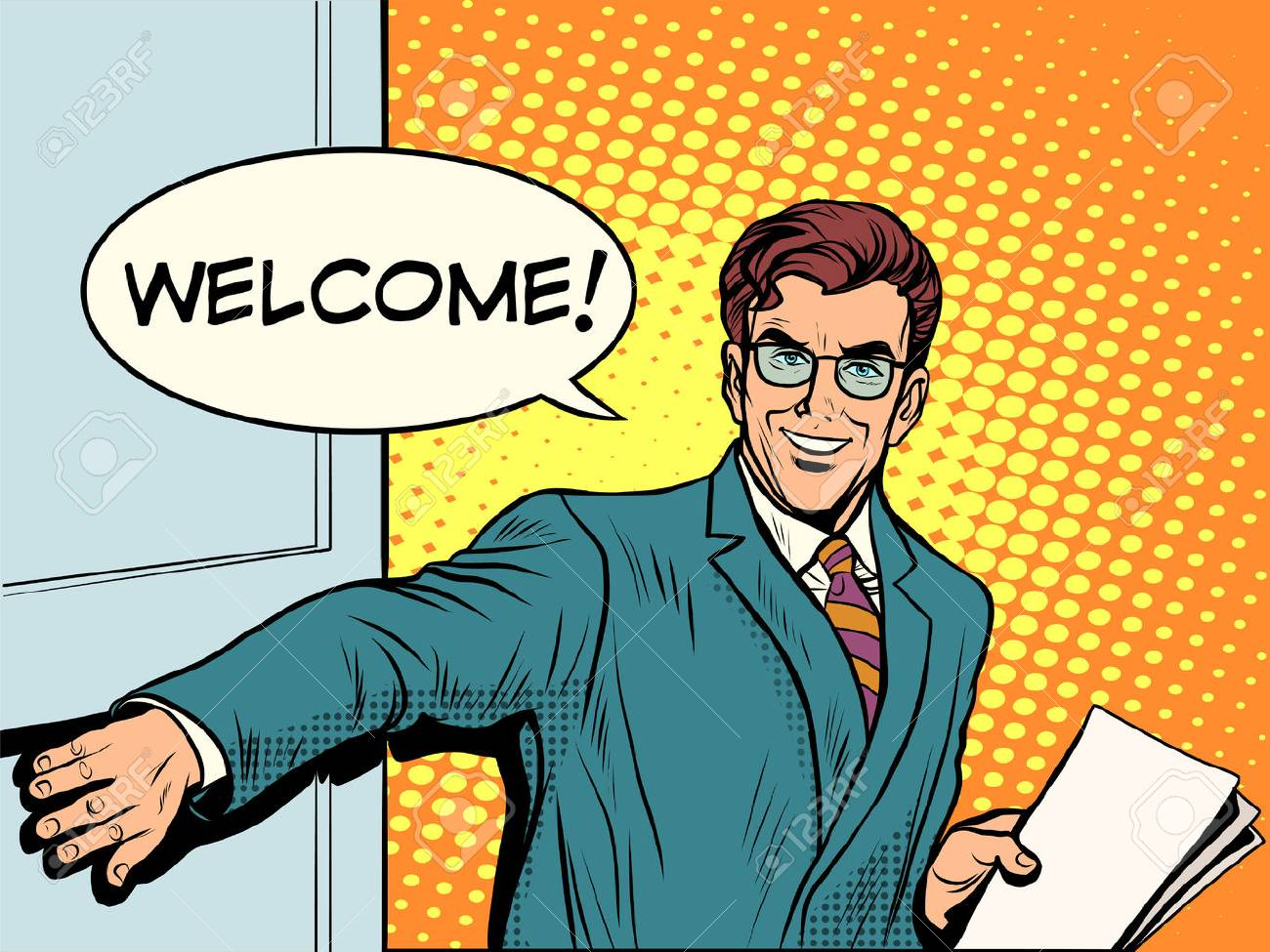 Welcome businessman opens the door pop art retro style. Input. The beginning of the business meeting - 52821378