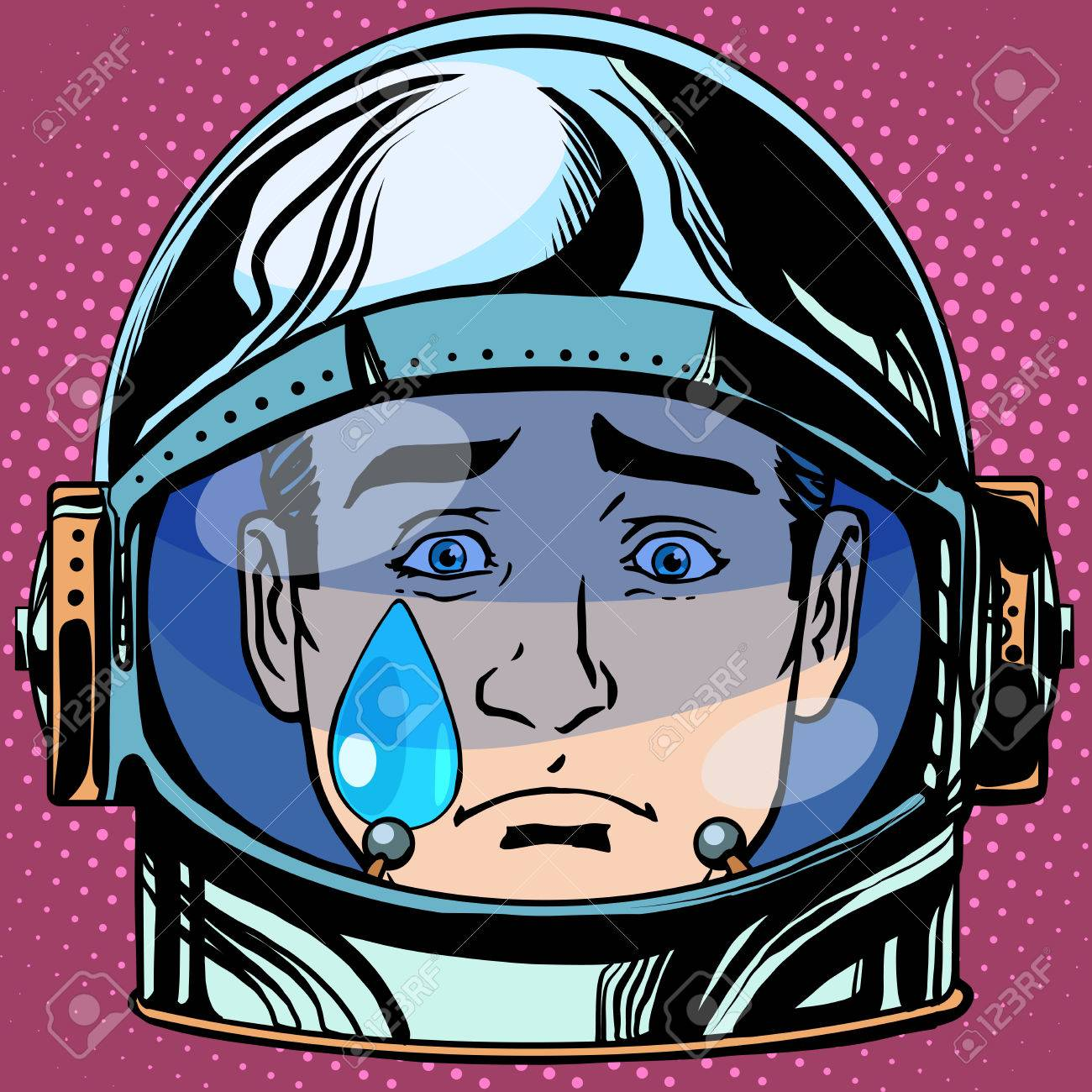 emoticon sadness tears Emoji face man astronaut retro pop art