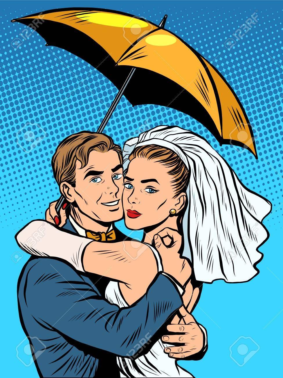 Couple In Love Bride And Groom Under An Umbrella Pop Art Retro ...