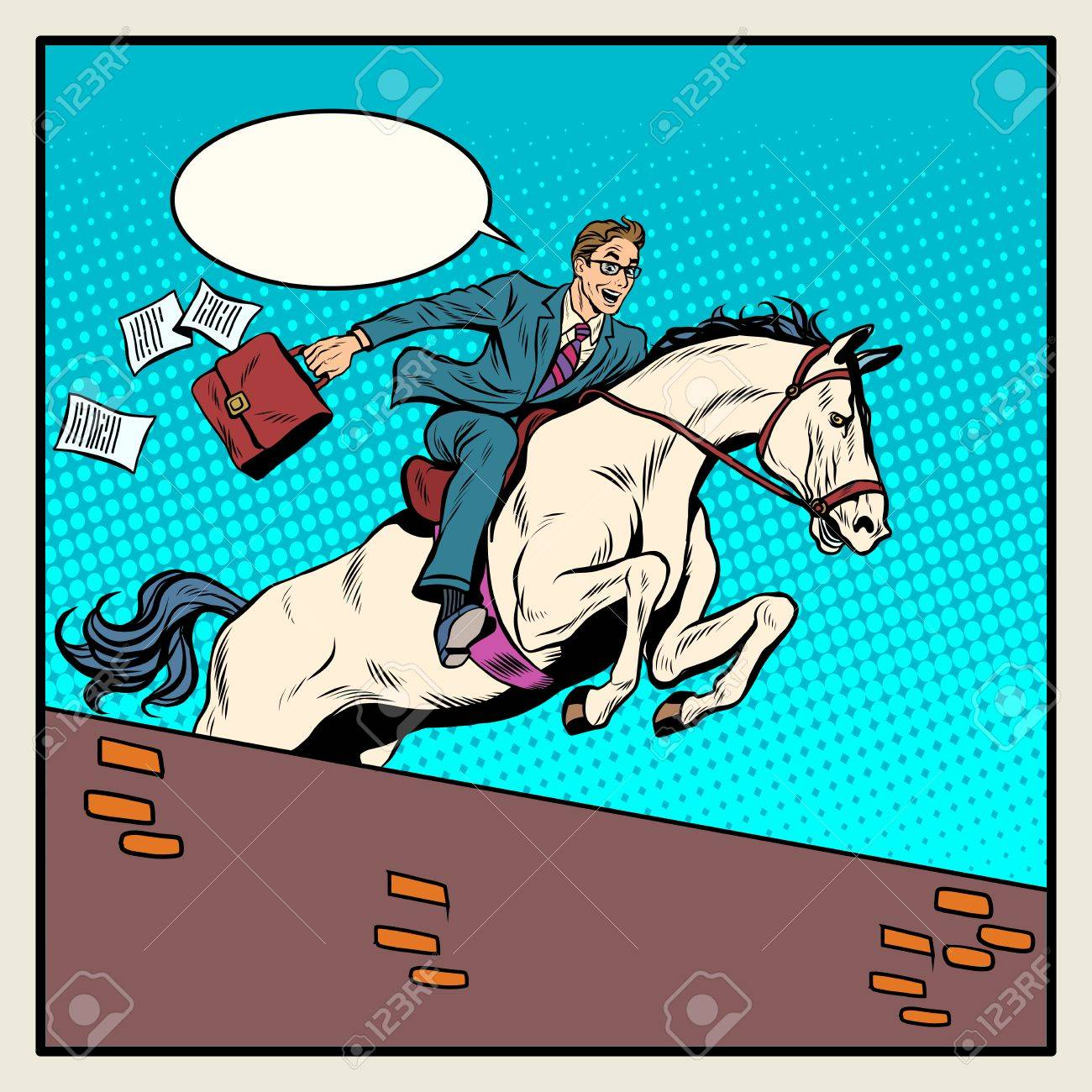 Businessman Horseman On Horse Jumps Over Barrier Pop Art Style Stock Photo Picture And Royalty Free Image Image 53757690