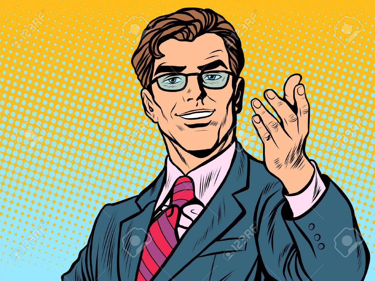 Friendly man businessman pop art retro style. Retro businessman. Vector illustration - 54386859