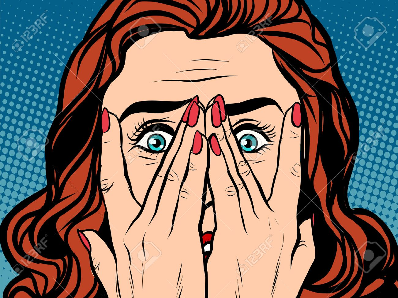 Frightened shocked girl pop art retro style. The face of a woman emotions - 54399575