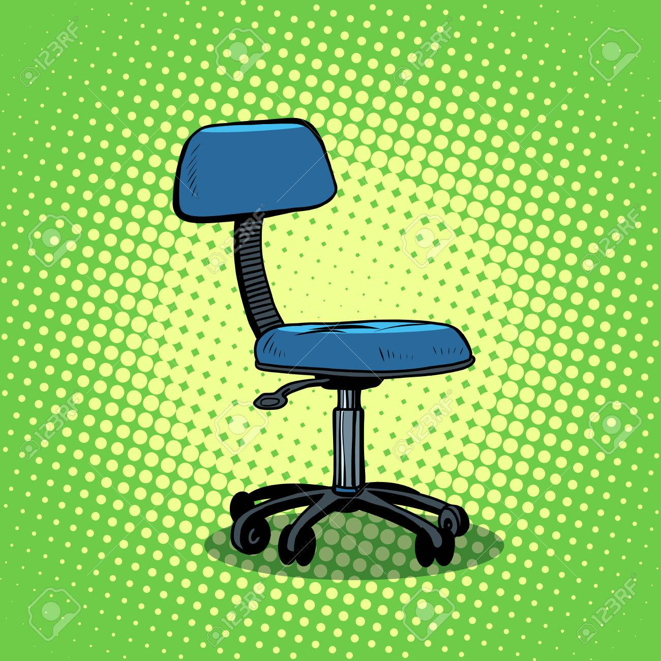 office chair furniture pop art style retro a chair on wheels