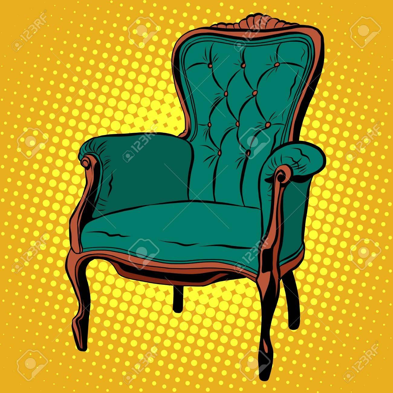 Vert Doux Meubles De Chaise Vecteur Fauteuil Pop Art Style Rtro