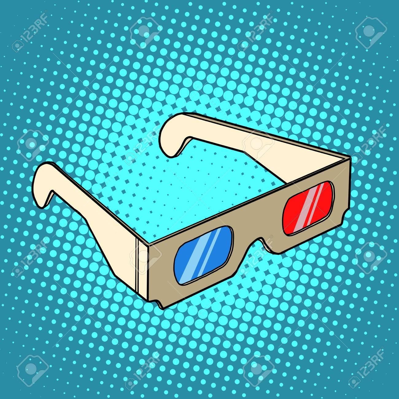 Vettoriale - Occhiali 3D Stereo Per Il Cinema Pop Art Stile Retrò ...