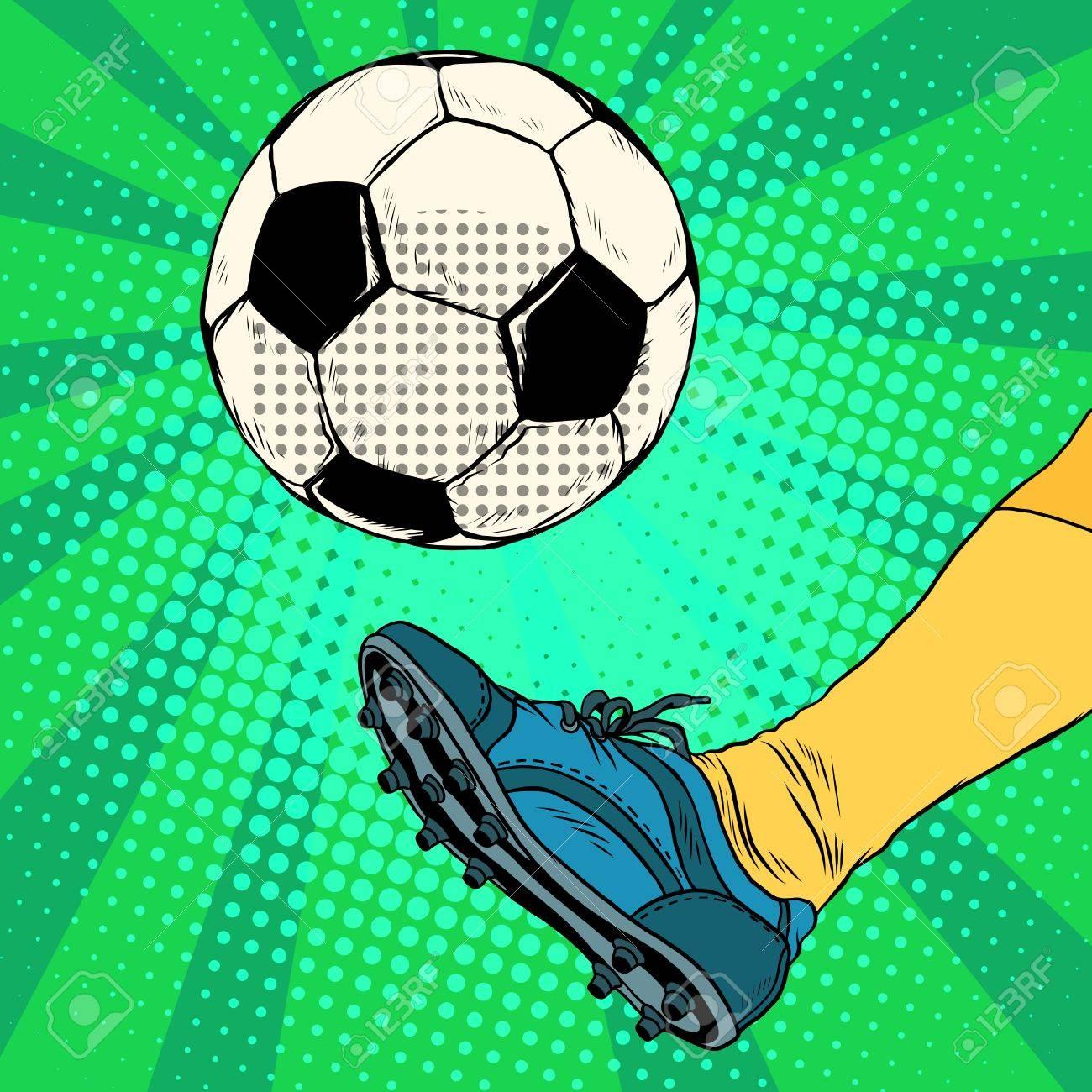 Kick a soccer ball pop art retro style. The European football. The free-kick - 56423937