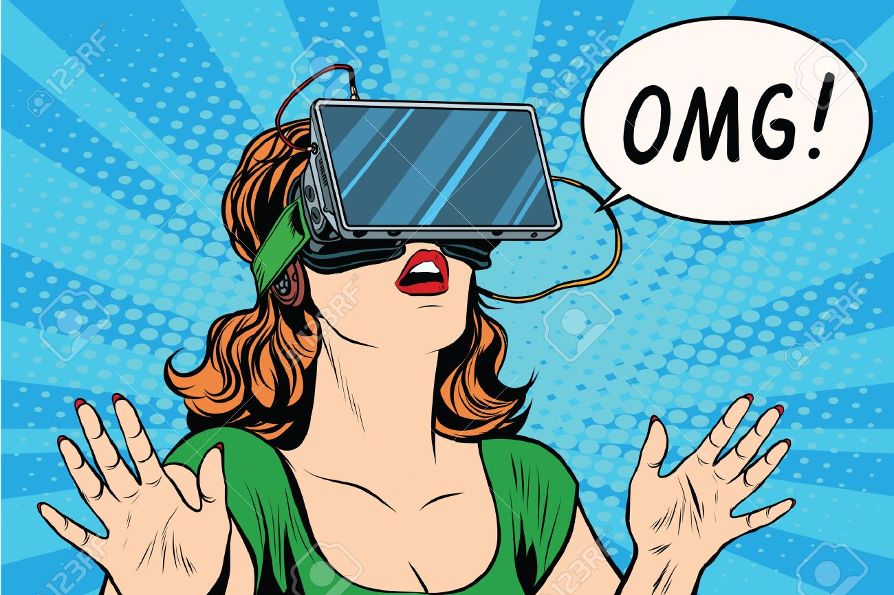 OMG emotions from virtual reality retro girl pop art retro vector. Woman using the virtual reality headset. vr glasses girl - 56856750