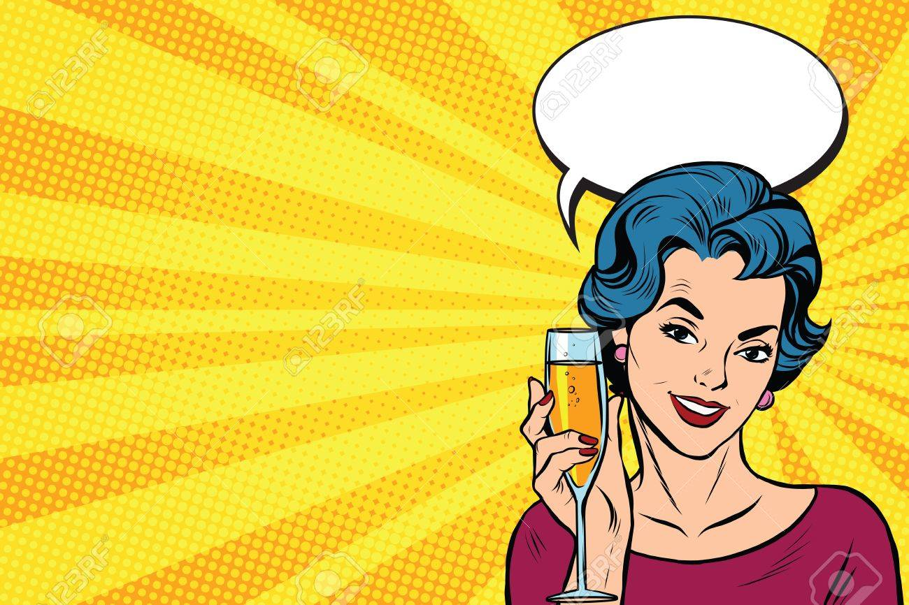 Toast girl party yellow retro background pop art retro vector. Celebration and party. Alcohol drink - 57231200