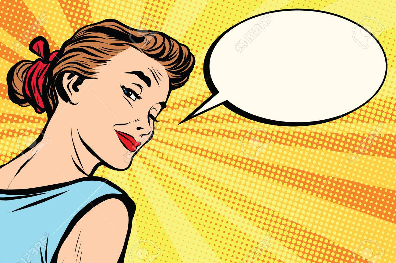 Beautiful retro girl asks pop art retro vector. a woman communicates. Comic text bubble - 56914942