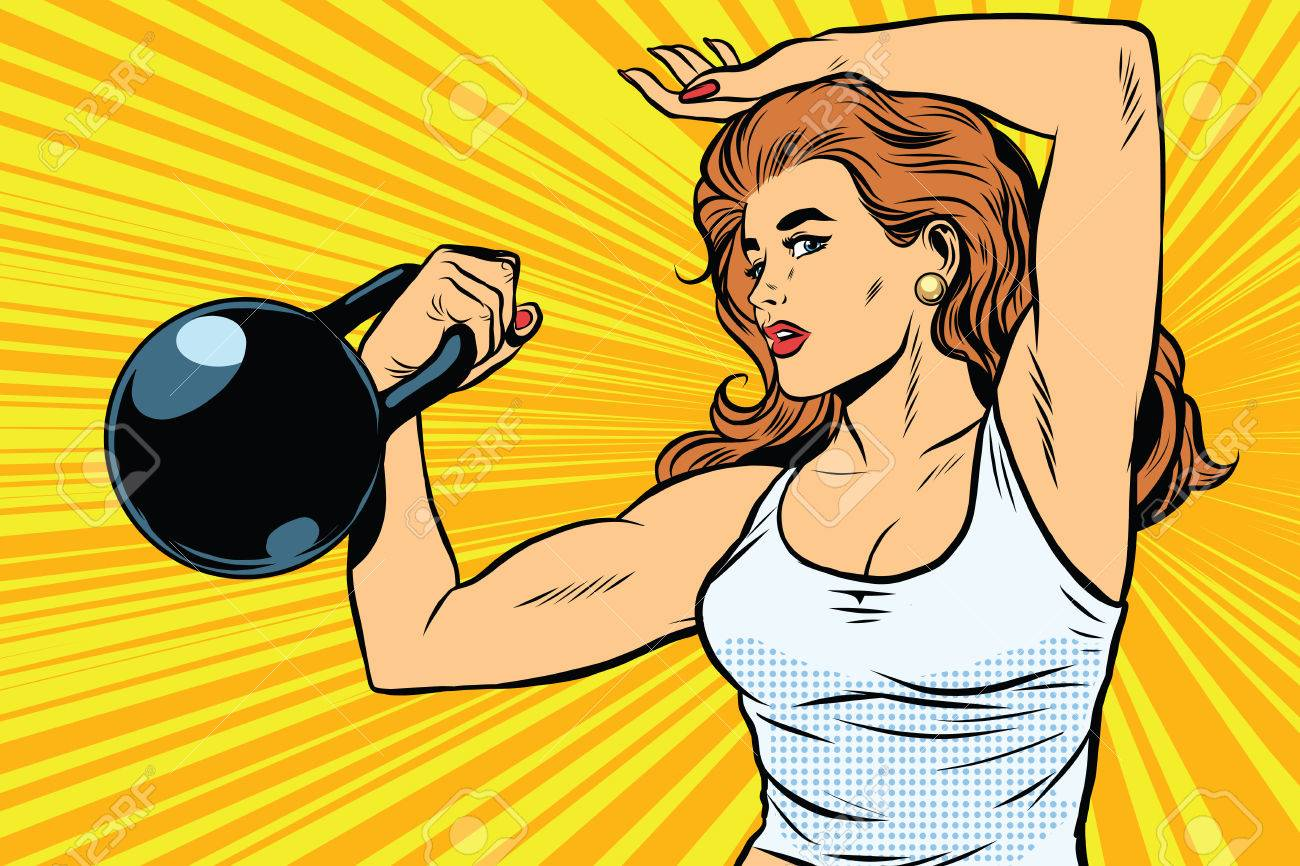 a strong woman athlete with weights pop art retro vector physical