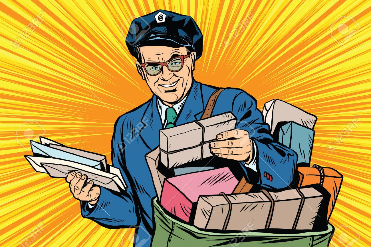 Cheerful oldster postman pop art retro vector. Friendly postman in blue uniform with bag and letters - 58146348