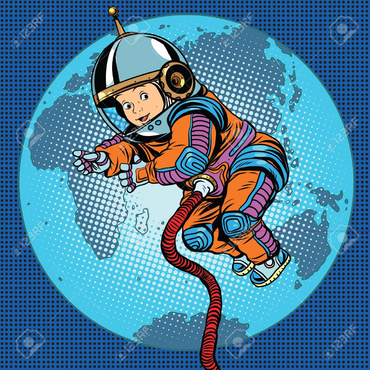 Astronaut baby Earth space. Earth day, ecology and life on the planet pop art retro vector - 58174629