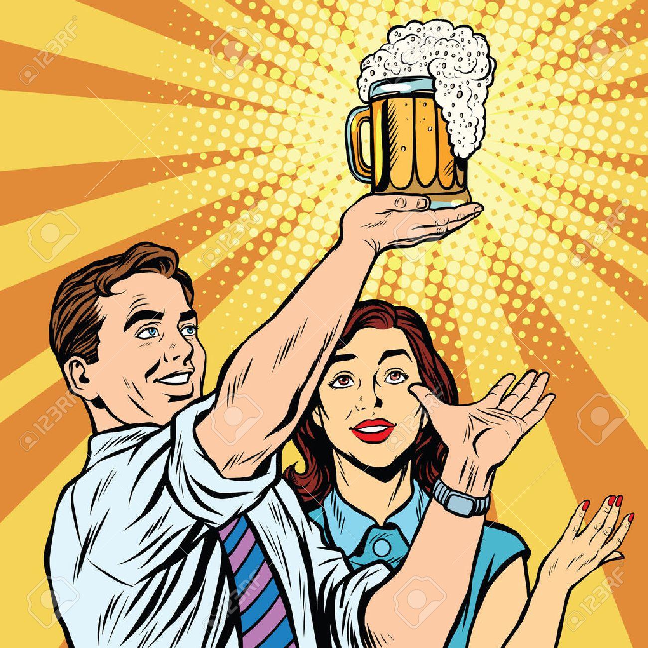 Triumph beer festival bar pub man and woman pop art retro vector. Mug of beer on the podium - 58174642