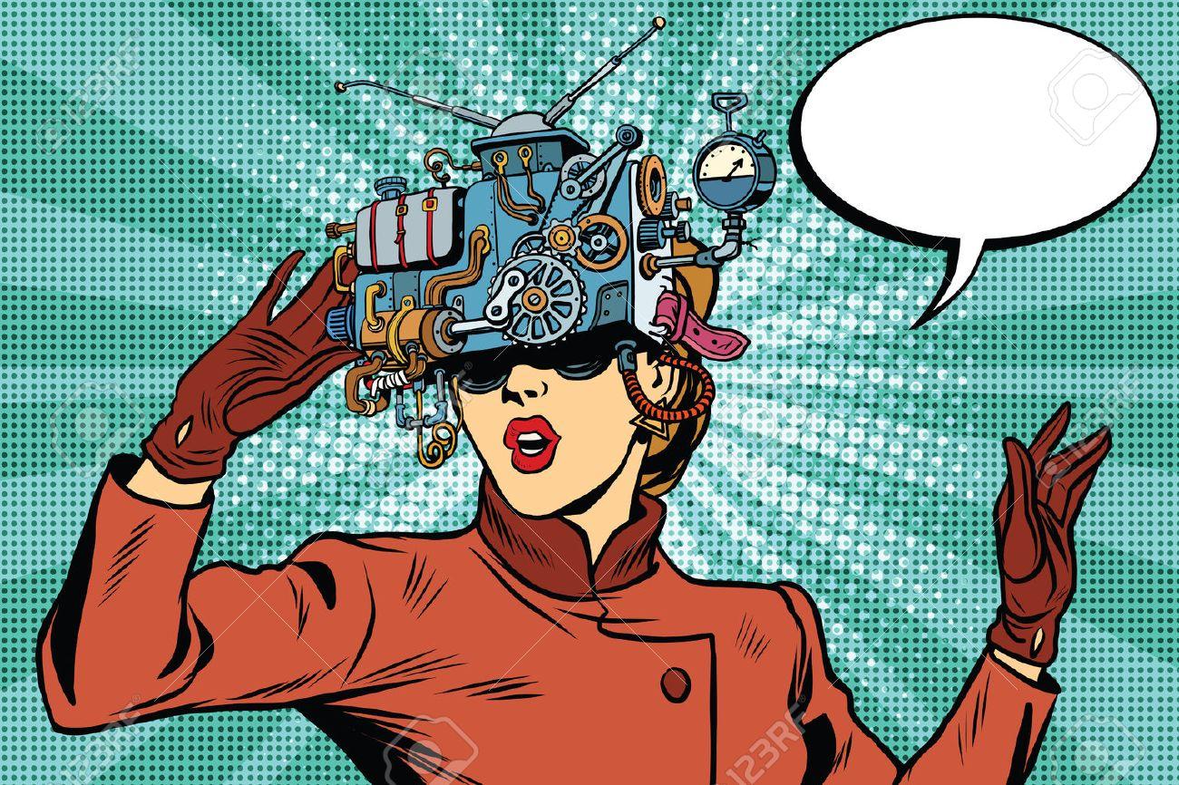 Virtual reality glasses retro girl science fiction, pop art vector. Futuristic mechanism of virtual reality - 58409336