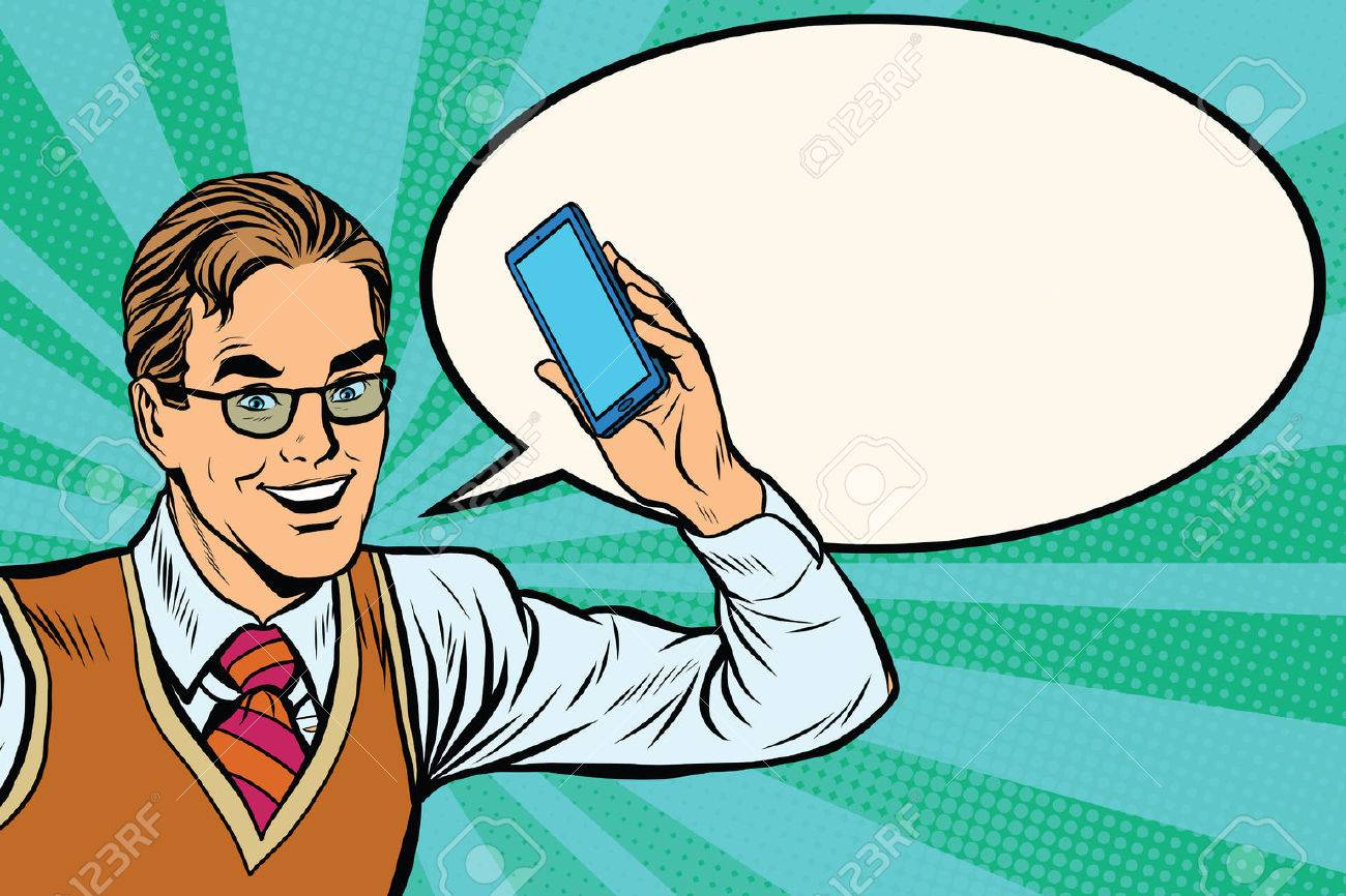 Joyful businessman with smartphone close-up pop art retro vector - 58649889
