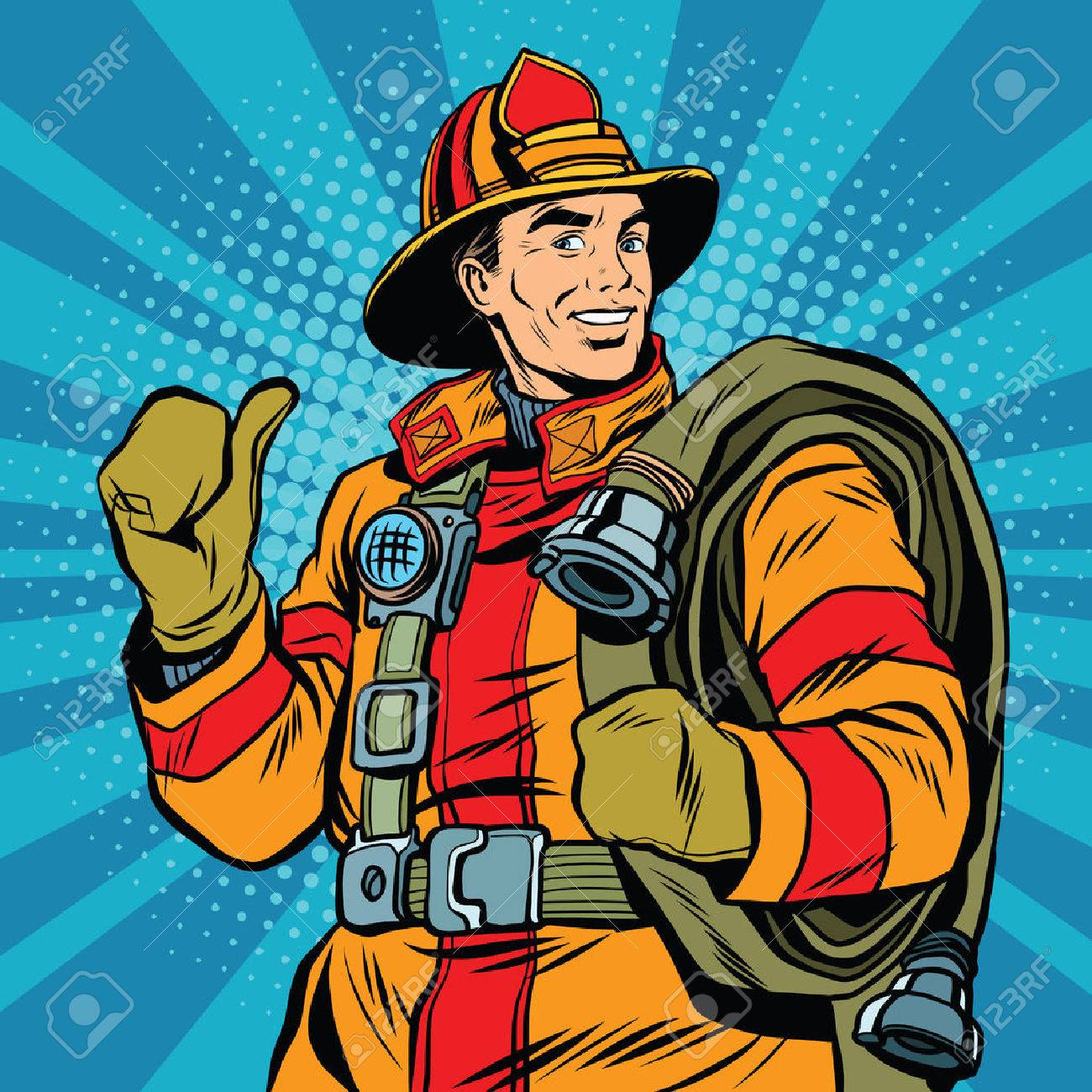 Rescue firefighter in safe helmet and uniform pop art retro vector. The professional rescuer - 58660817
