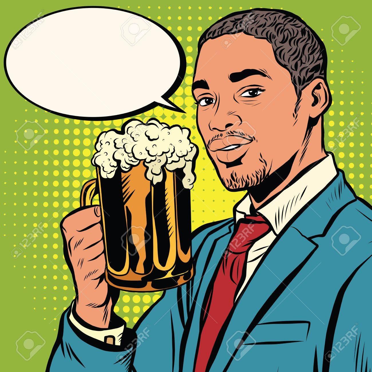 Elegant black man with a beer pop art retro vector. Bars restaurants pubs. Alcoholic beverage. Oktoberfest beer festival - 58987849