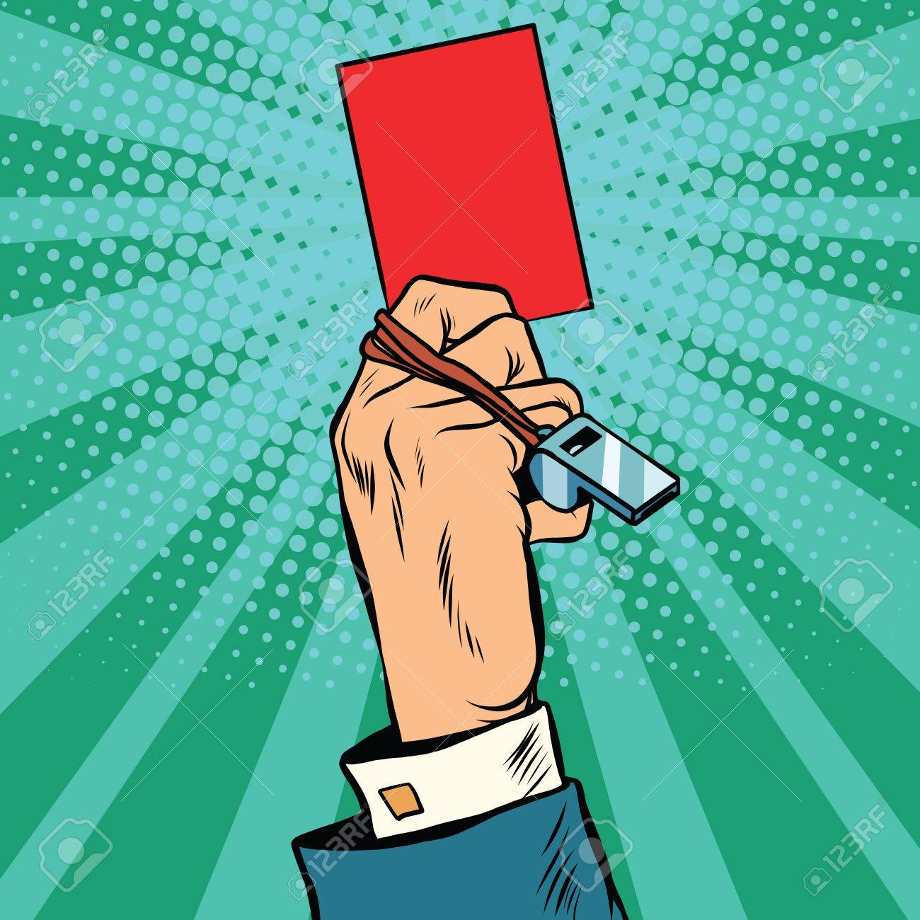 Red card hand business concept pop art retro vector. Violation of the ban - 59667156