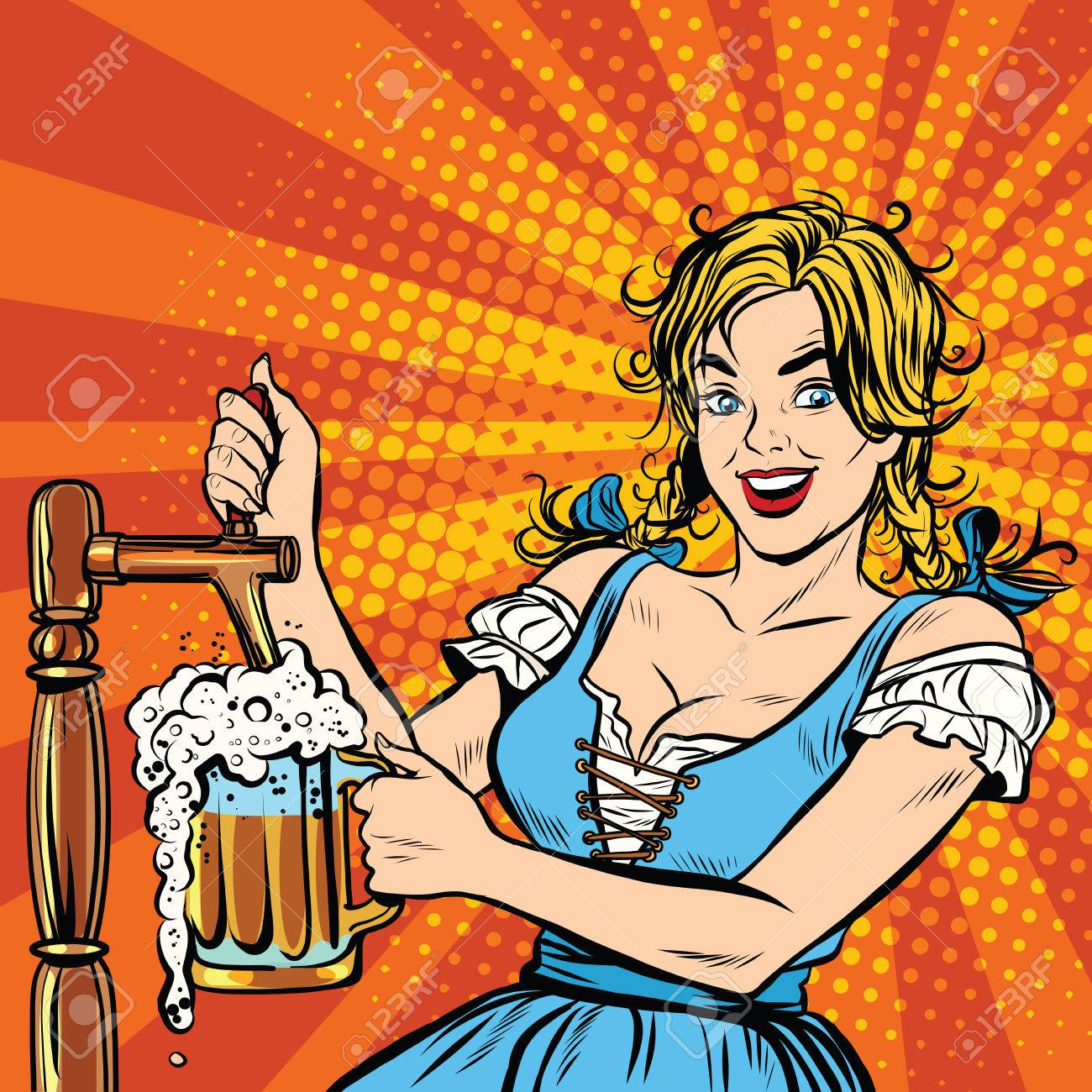 Young blond woman pours a beer, dressed in a national costume of Germany pop art retro vector. Oktoberfest beer festival - 59667158