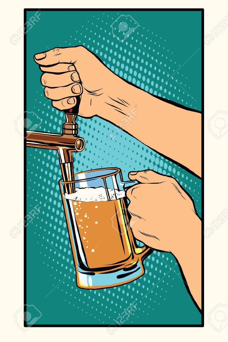 The bartender pours a glass of beer pop art retro vector. Pub and draught alcohol - 59667162