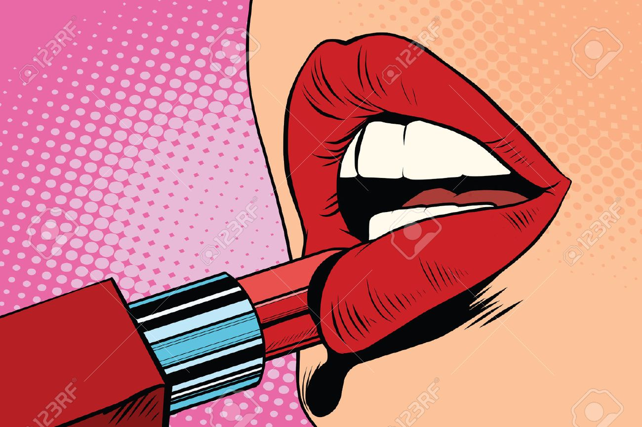 Girl paints her lips with red lipstick, makeup pop art retro vector. The beauty of the face - 59987014